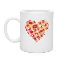 Чашка Сердце из квадратиков